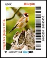 """Biberpost: BiNr. K 13-288, """"Vogel Des Jahres 2016: Stieglitz"""", Satz, - Alemania"""