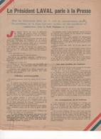 WW2 - Le Président Laval Parle à La Presse. Juillet 1943. Document De 2 Pages - Historical Documents
