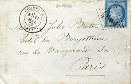 COURRIERES PAS DE CALAIS 11 Mai 1875 + GC 4600 Sur Timbre N°60 Type 3 25c Cérès Indice 6 25€ - Poststempel (Briefe)
