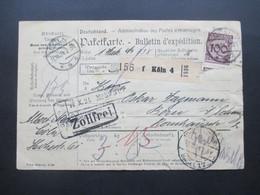 DR 1924 Paketkarte Cöln - Bern Schweiz Mit MiF Reichsadler Unterrand Und Korbdeckel Nr. 343 Zollfrei - Deutschland