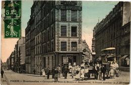 CPA PARIS (18e) MONTMARTRE Carrefour Des Rues De Maistre Et Damremont. Le Nouvel Autobus. (a4590) - Distretto: 18