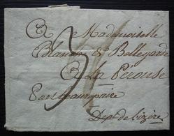 Jolie Petite Lettre Sans Date Pour Mademoiselle Blanche De Bellegarde à La Pérouse Par Beaurepaire Isère - Marcophilie (Lettres)