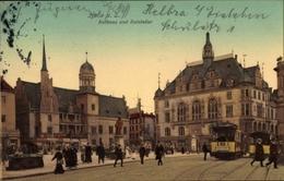 Cp Halle An Der Saale, Rathaus Und Ratskeller, Straßenbahnen - Postcards
