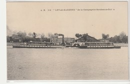"""Passage Du Bateau Vapeur à Aube """"Lot Et Garonne"""" De La Compagnie Bordeaux Océan - Bordeaux"""
