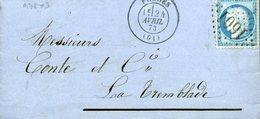 FRUGES Type 17 24 AVRIL 73 + GC 1601 Sur N°60 Type 1 25c Cérès TTB - Marcophilie (Lettres)