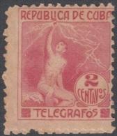 1916.2 CUBA. 1916. Ed.99. SIN GOMA. 2c. TELEGRAFOS. TELEGRAPH. ALEGORIA DEL RAYO.   ELECTRICIDAD. - Kuba