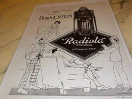 ANCIENNE PUBLICITE UNE SEULE MANOEUVRE  DE RADIOLA SFER 20 1927 - Autres
