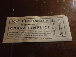 BIGLIETTO AUTOBUS SCAT CORSA SEMPLICE- CALTANISSETTA-LIRE 50 - Bus