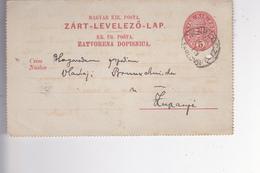 CROATIA -  HUNGARY  -  KR. UG. POSTA  --  ZART - LEVELEZO - LAP  --  ZATVORENA DOPISNICA  --  STEMPEL KARLOVAC + ZUPANJA - Kroatien