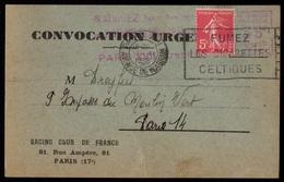 """1938 Championnat Hockey. EMA Du """"RACING CLUB De FRANCE"""" Sur CONVOCATION URGENTE + Pub Voyage - Clubs Mythiques"""
