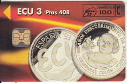 """SPAIN - Espana """"93, ECU 3/Ptas 408, Tirage 6100, 01/94, Mint - Spagna"""