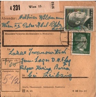 ! 1944 Paketkarte Deutsches Reich, Wien 15 Nach Pulgar, Kreis Borna, Lager D.A.F Deutsche Arbeitsfront - Germania