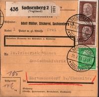 ! 1934 Paketkarte Deutsches Reich, Sachsenberg Im Vogtland Nach Hartmannsdorf Bei Chemnitz - Germania