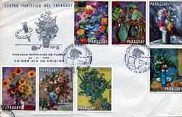 PARAGUAY. 1970. FDC. CENTRO FILATELICO DE PARAGUAY. PINTURAS MUNDIALES DE FLORES. SOBRE DE PRIMER DIA. - NTVG. - Vegetales