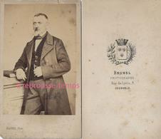 CDV Mode Second Empire-bourgeoisie-homme Avec Un Gilet à Pois-photo Brunel à Grenoble - Anciennes (Av. 1900)
