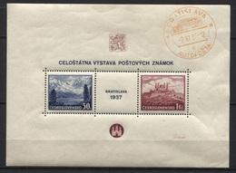 Tschechoslowakei Block 1 Postfrisch Mit Blanko Autoposta-Stempel Bratislava 2.11.37 - Gebraucht