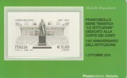 TESSERA FILATELICA VALORE 0,6 EURO CORTE DEI CONTI (FY213 - Filatelistische Kaarten