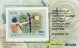 TESSERA FILATELICA VALORE 0,75 EURO CAMP TIRO ARCO (FY233 - Filatelistische Kaarten