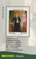 TESSERA FILATELICA VALORE 0,6 EURO CAVOUR (FY289 - Tarjetas Filatélicas