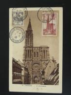 Carte Maximum Card Cathédrale De Strasbourg Ayant Voyagé Sur Premier Vol Stbg Lyon Marseille 1946 - Luftpost