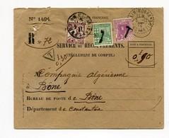 !!! PRIX FIXE : ALGERIE, LETTRE A EN-TETE SERVICE DES RECOUVREMENTS, CACHET DE MOKRA DE 1927. TAXEE - Storia Postale