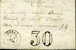LUMBRES 15 Sept 65 Taxe Double Trait 30c + BOITE RURALE A De Bayenghem Les Seninghem - Marcophilie (Lettres)