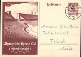 Germany - Olympic Games PSC, Ganzsache Mi. P 260. Saarbrücken 25.7.1936 - Forbach. - Entiers Postaux