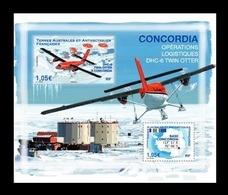 TAAF 2020 Mih. 1066/67 (Bl.78) Aviation. Plane DHC-6 Twin Otter On Base Concordia MNH ** - French Southern And Antarctic Territories (TAAF)