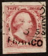 """NTH SC #2 U 1852 KingWilliam III """"FRANCO"""" 4-margins W/flt CV $27.50 - Period 1852-1890 (Willem III)"""