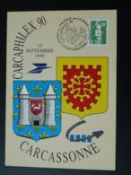 Carte Commemorative Card Journée De La Philatélie Carcaphilex 1990 Carcassonne 11 Aude - France