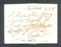 PREFILATELIA.1827.MUY RARA E INTERESANTE CARTA CIRCULADA DE MADRID A DRESDE (ALEMANIA) CON DIVERSAS MARCAS Y PORTEOS. - ...-1850 Vorphilatelie