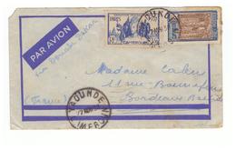 Lettre Par Avion Cameroun Cachet Yaounde 1938  Timbre Exposition Paris 1937 - Cameroun (1915-1959)