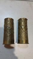 LOT  DE  2  ETUIS  DE  37mm   1914-18  TRAVAIL  DE  TRANCHEE   CROIX  DE  LORRAINE - Decorative Weapons