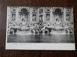 L23/360 ITALIE - ROME - Fontaine De TREVI - Carte Stéréoscopique - Fontana Di Trevi