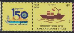 INDIA 2019 Kolkata Port Trust Ship Cargo Loading MY STAMP 1v Stamp With TAB MNH Bridge Anchor Victoria Memorial - Inde