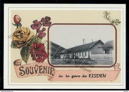 EISDEN  ... 2  Cartes Gare + Train Souvenir Creation Moderne Serie Limitee - Belgique