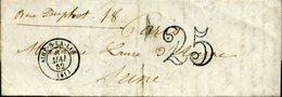 AIRE SUR LA LYS Type 15 8 Mai 52 + Taxe 25c Double Trait Pour Paris - Marcophilie (Lettres)