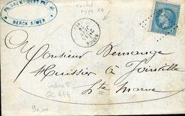 BERCK Type 16 15 Juin 70 + GC 444 (illisible) Sur 20c Empire Lauré - Marcophilie (Lettres)