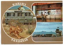 TANZANIA - KARIBU / AIRPORT / OLD CAR-LAND ROVER / THEMATIC STAMPS-BUTTERFLY / TRAIN - RAILWAYS - BRIDGE - Tanzania