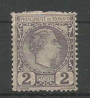 Monaco Yvert 2 Prince Charles III MH / * 1885 Cote: 82,00€ - Neufs