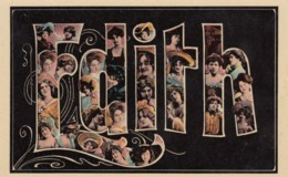Edith Large Letter Name, Beautiful Women, On C1900s/10s Vintage Postcard - Firstnames