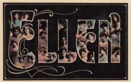 Ellen Large Letter Name, Beautiful Women, On C1900s/10s Vintage Postcard - Firstnames