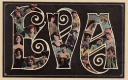 Eva Large Letter Name, Beautiful Women, On C1900s/10s Vintage Postcard - Firstnames