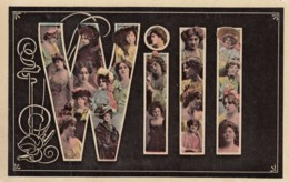 Will Large Letter Name, Beautiful Women, On C1900s/10s Vintage Postcard - Firstnames