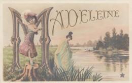 Madeleine Large Letter Name, Beautiful Women, Art Nouveau Theme On C1900s Vintage Postcard - Firstnames