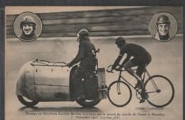 MONTLÉRY - BRUNIER Sur Bicyclette LUCIFER - Record Du Monde De L'heure 01/11/1925 - Radsport
