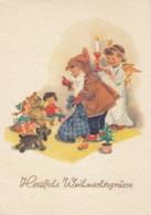 Boy As Santa With Girl As Angel, Toys, Christmas Eve Greetings, C1950s/60s Vintage Postcard - Santa Claus
