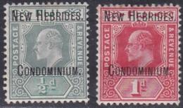 New Hebrides, Scott #7-8, Mint Hinged, Edward VII Overprinted, Issued 1908 - English Legend