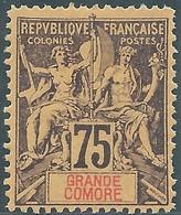 France (old Colonies And Protectorates)1897 Grandi Comore-Inscription GRANDE COMORE,75C Dark Purple/red.MNH - Nuovi