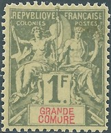 France (old Colonies And Protectorates)1897 Grandi Comore-Inscription GRANDE COMORE,1Fr Olive/red.MNH - Nuovi
